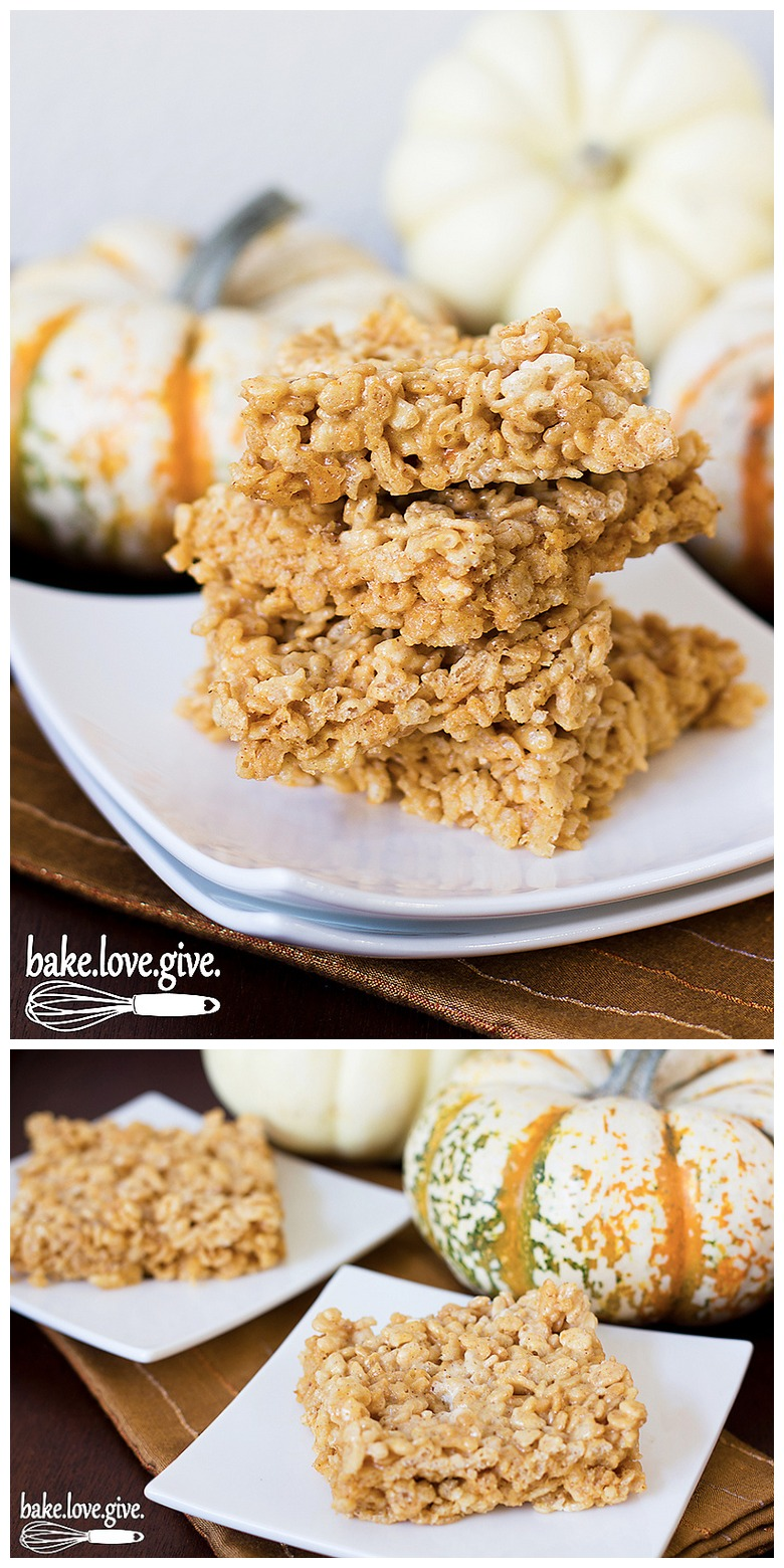 Brown Butter Pumpkin Krispies Treats