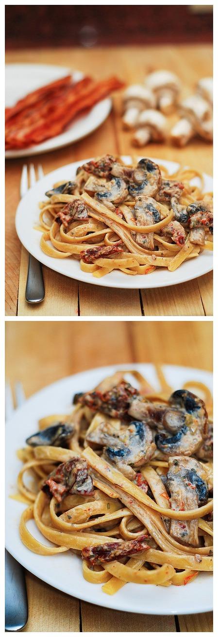 Sun Dried Tomato and Mushroom Pasta