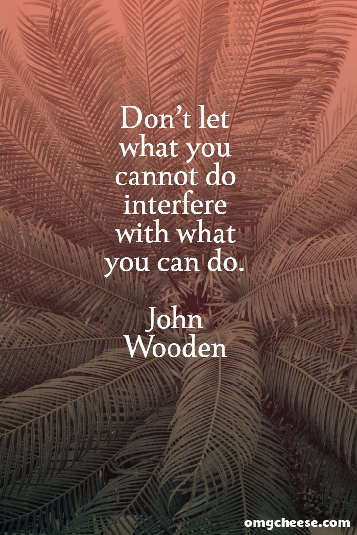 Don't let what you cannot do interfere with what you can do. John Wooden