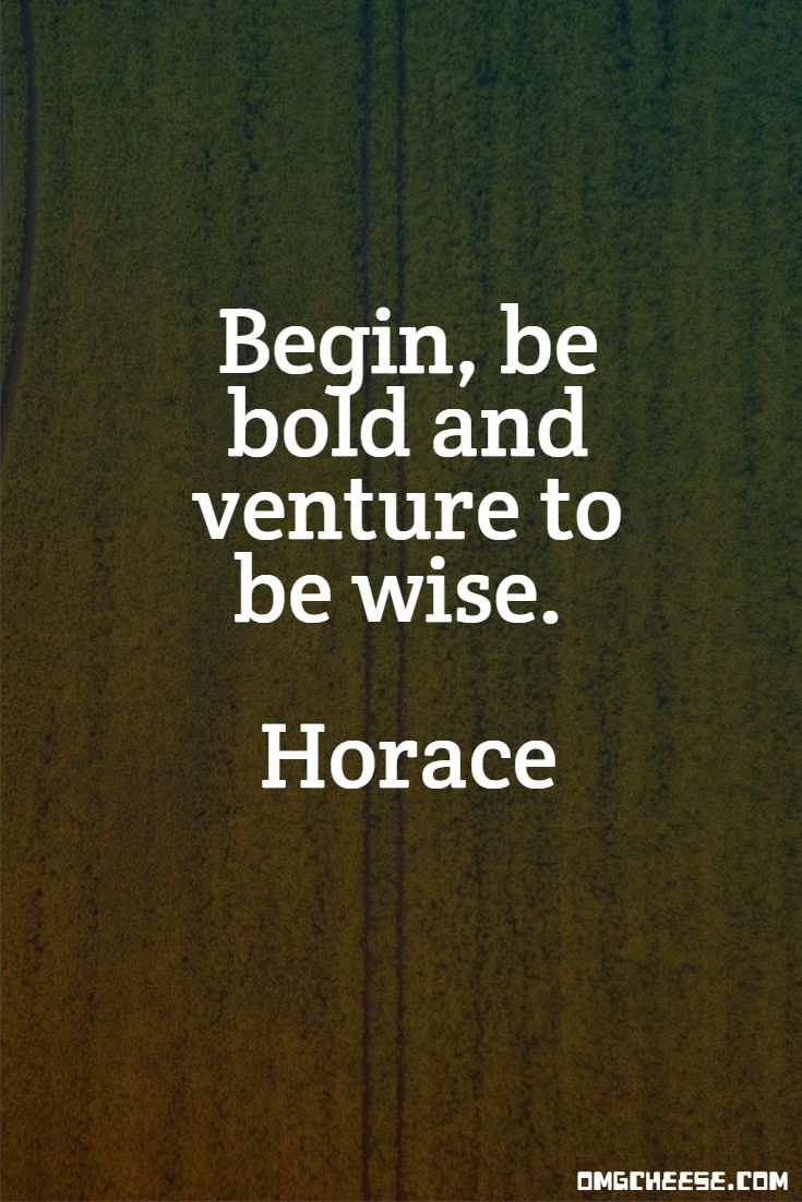 Begin, be bold and venture to be wise. Horace
